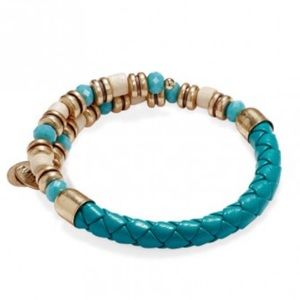 Alex and Ani Uncharted Voyage Teal Leather Wrap